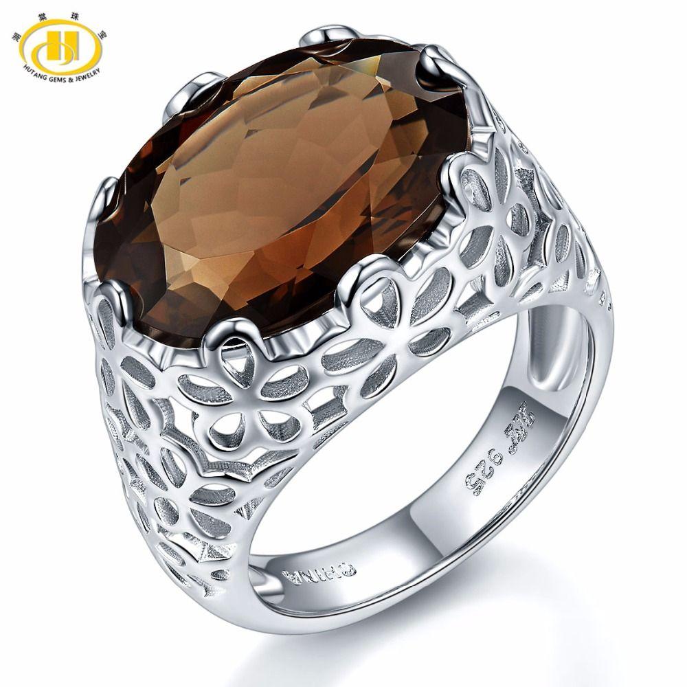 Hutang 8.5ct Quartz fumé naturel anneaux filigrane Cocktail bague de mariage solide en argent Sterling 925 pierres précieuses bijoux en pierre Fine nouveau
