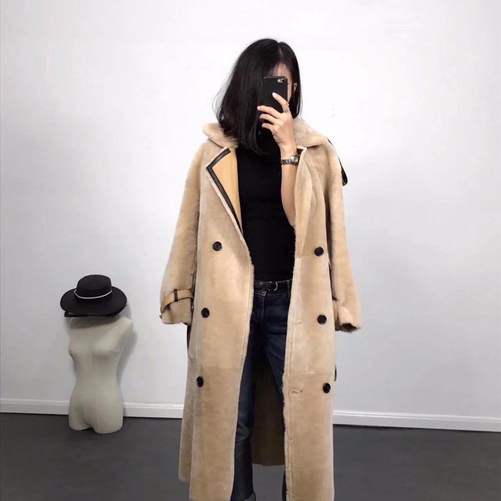 2018 frauen Echte Schafe Pelzmantel große größe Winter Warm Fashion Echtes Merino Schaffell Leder Jacke lange länge lamm pelz mäntel