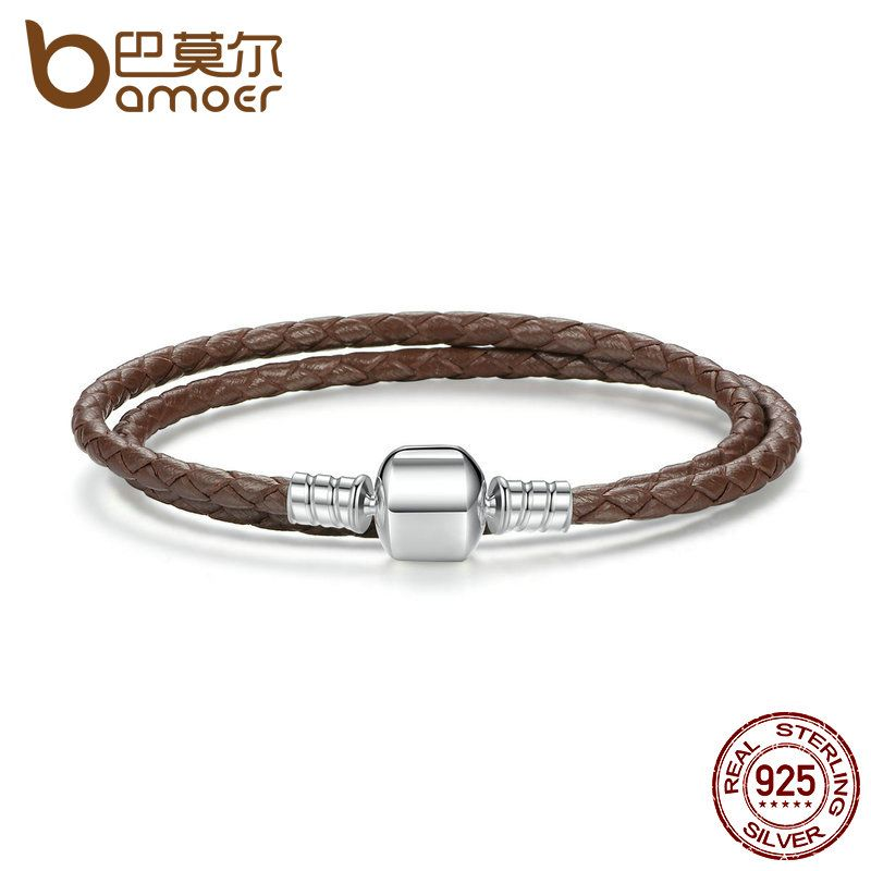 BAMOER 925 Sterling Silver Brown Long Snake Chain Adjustable Braided Rope Bracelets for Women Fine Jewelry PAS909