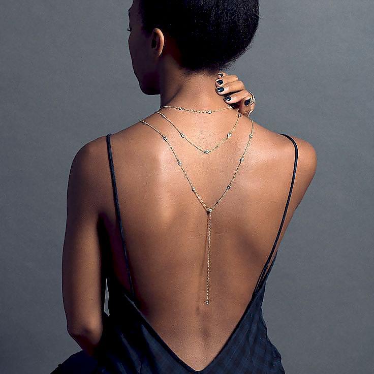 Mode nouveau Design cristal toile de fond collier chaîne arrière or une couleur argent dos nu robe accessoires bijoux bijoux de mariée