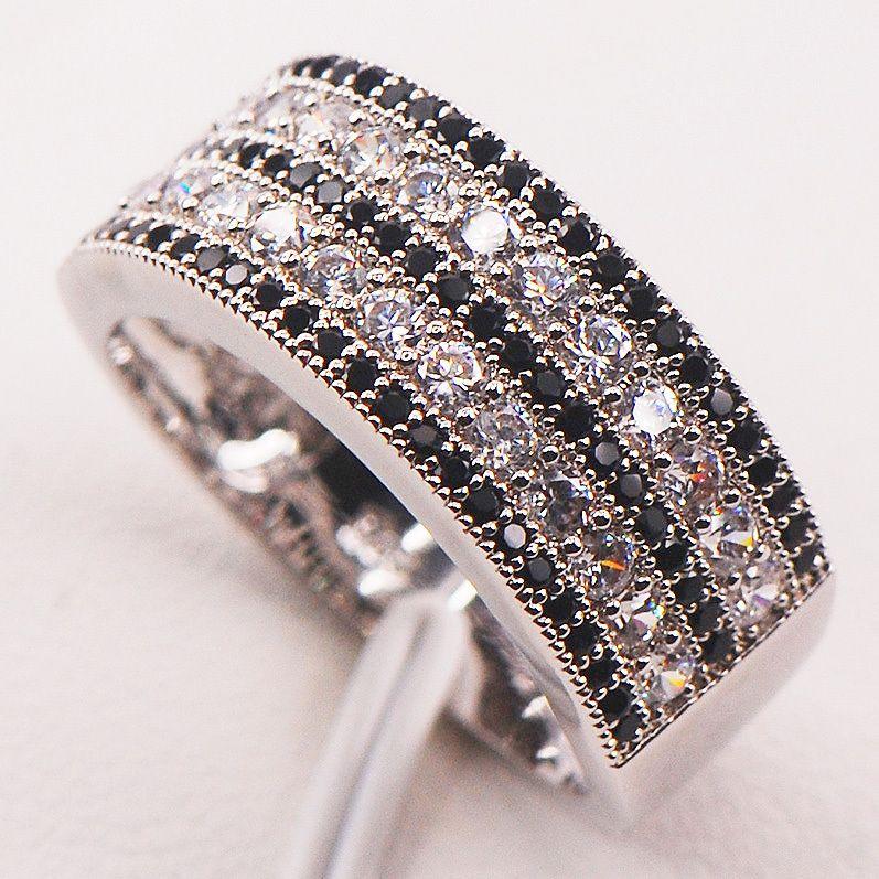Noir Blanc Cristal Zircon 925 Sterling Argent Femme Bague Taille 5 6 7 8 9 10 11 12 F586 En Gros bijoux Livraison Gratuite