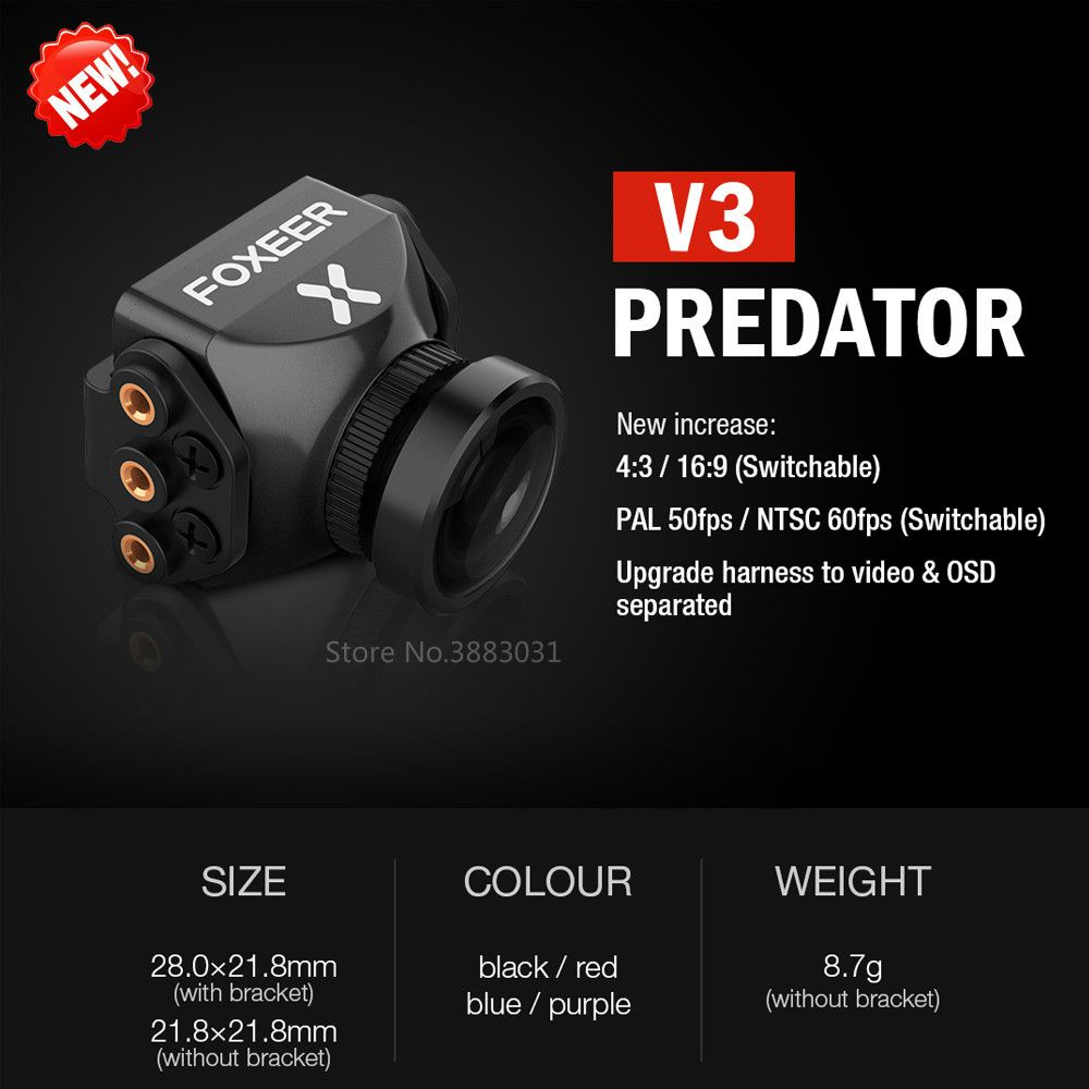 Foxeer Predator V3 Racing All Weather FPV Camera 16:9/4:3 PAL/NTSC switchable Super WDR OSD 4ms Latency Remote Control