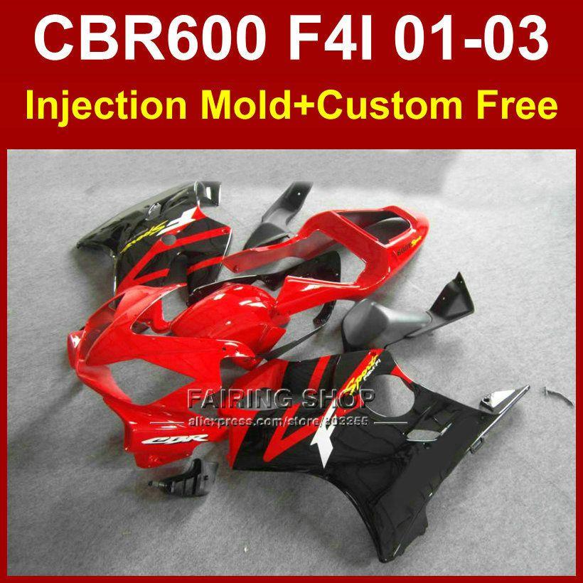 OEM fabrik verkleidung teile für HONDA CBR600 F4I 01 02 03 CBR 600F4i 01 02 03 benutzerdefinierte rot verkleidungen kit cbr 600 f4i 2001 2002 2003