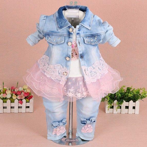 Bébé fille vêtements printemps automne denim nouveau-né fille vêtements ensemble 3 pièces bébé vêtements fille anniversaire enfants bébé vêtements ensembles