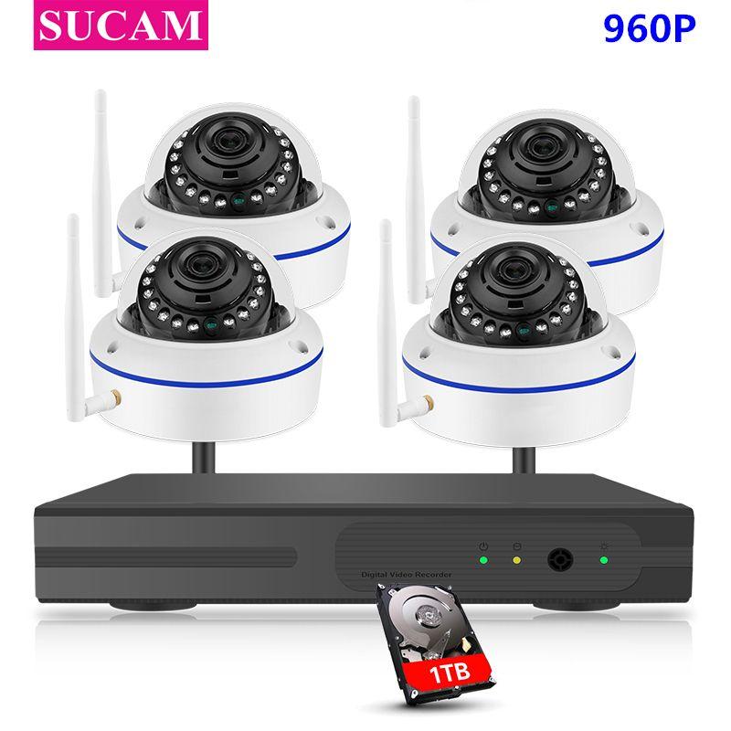 SUCAM 4CH CCTV System Drahtlose 960 p NVR 4 stücke 1.3MP IR P2P Dome Wifi IP CCTV Sicherheit Kamera System überwachung Kit 1 tb HDD