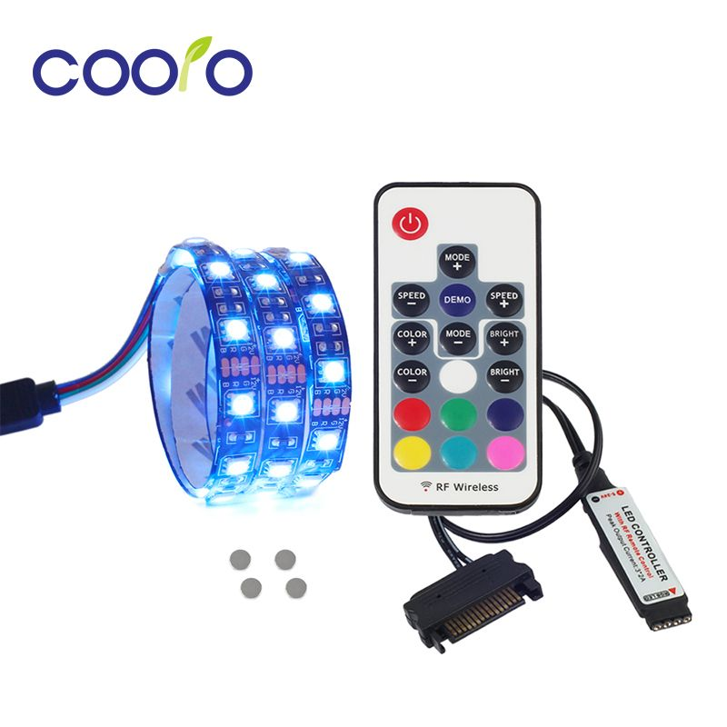 Magnetic RGB LED Strip Light Full Kit for PC Computer Case, SATA power supply interface,Fixed by Magnet,Remote Control Color