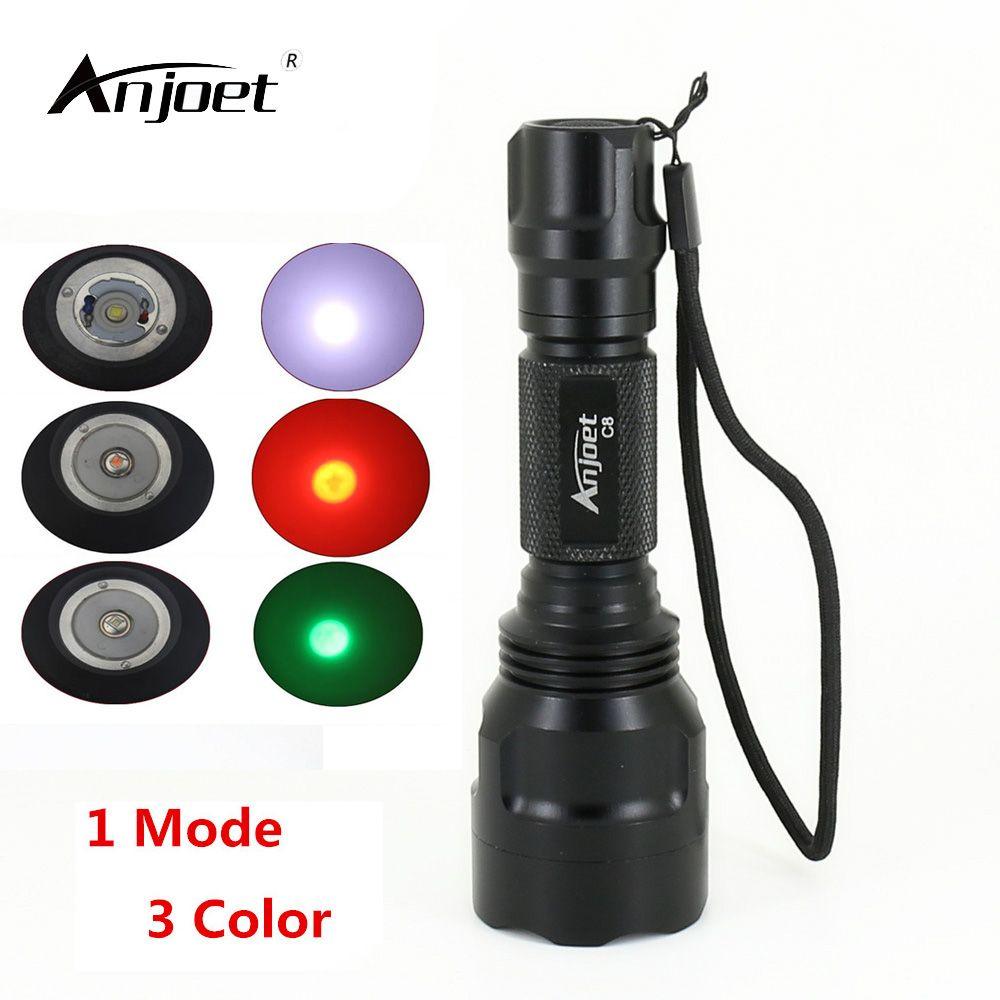 ANJOET petit lampe de poche LED C8 XM-L T6 Q5 haute puissance 2000 lumens 1 mode torche lanterne lumière pour voyage léger en plein air