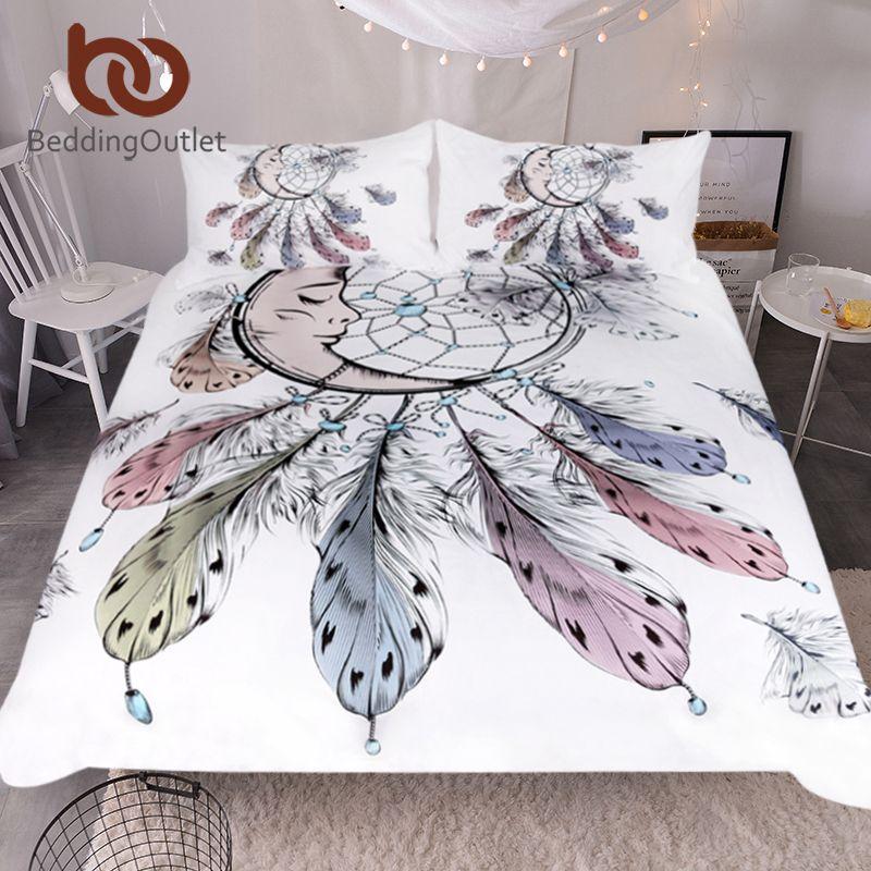 BeddingOutlet Moon Dreamcatcher Bedding Set Queen Size Feathers Duvet Cover White Bed Set Beautiful Bedclothes 3pcs