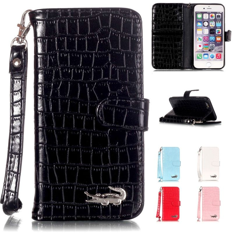 Luxus Krokodilleder Brieftasche Alligator Flip Leder Marke Fall Für Apple Iphone 5 5 s 6 6 s 6 plus 6 s Plus 7 7 plus 7 8 Plus abdeckung
