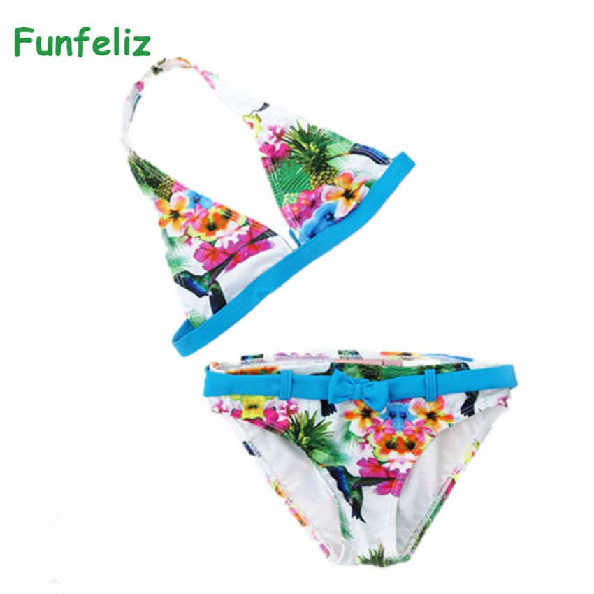 Bikini girls biquini infantil swimwear girl Children swimwear two pieces swimming suit for girls kids swimsuit 6-16 age