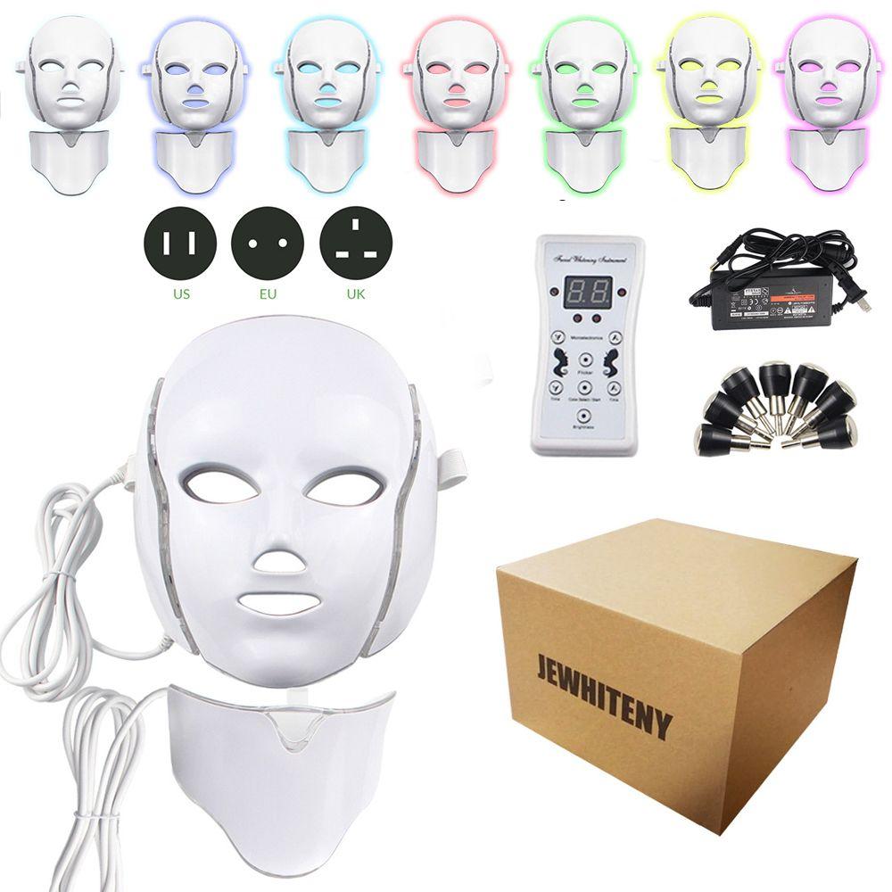 2 Types 7 couleurs électrique Led masque Facial masque Machine luminothérapie acné masque cou beauté masque Led Led Photon thérapie