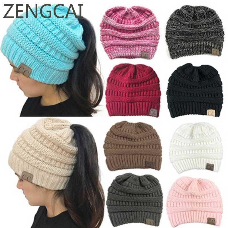 CC Ponytail Beanie Winter Hats For Women Crochet Knit Cap Skullies Beanies Warm Caps Female Knitted Stylish Hat Ladies Fashion