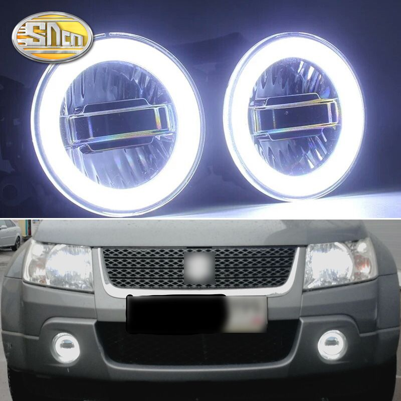 SNCN 3-IN-1 Functions Auto LED Angel Eyes Daytime Running Light Car Projector Fog Lamp For Suzuki Grand Vitara 2007 - 2012