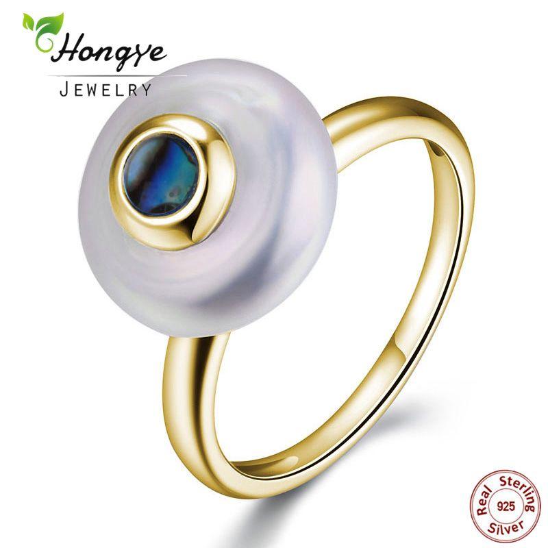 Hongye Offre Spéciale 100% Naturel D'eau Douce Perle Anneaux 925 En argent Sterling bijoux Oblat 2.5 cm D'eau Douce Perle Anneau pour le Mariage