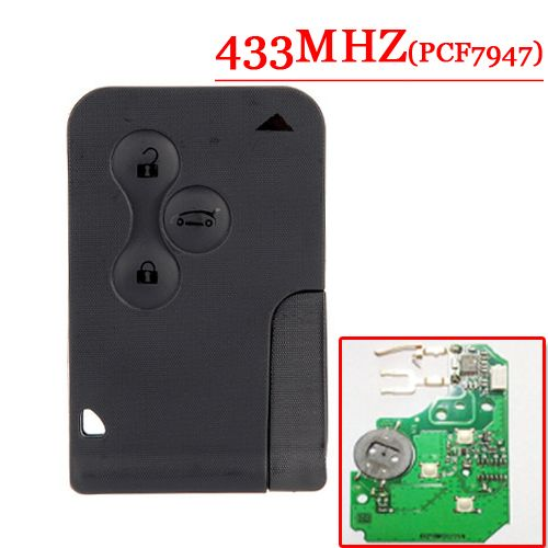 Free Shipping Best Price (1pcs) Excellent Quality 3 Button Smart Card for Renault Megane Scenic With 7947 chip <font><b>433MHZ</b></font>