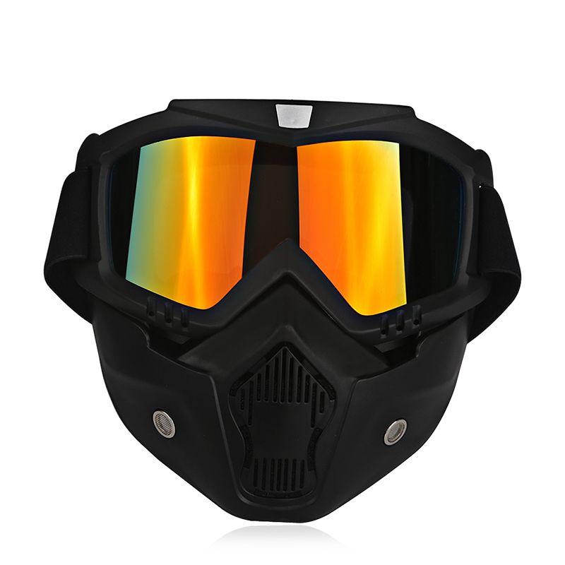 Ski Bike Motorcycle Face Mask Goggles <font><b>Motocross</b></font> Motorbike Motor Open Face Detachable Goggle Helmets Vintage Glasses Universal