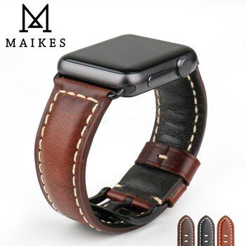 MAIKES Watch Accessories Genuine Cow Leather For Apple Watch Band 42mm 38mm iWatch 4 Apple Watch Strap 44mm 40mm Series 1 2 3 4