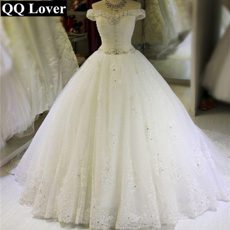 QQ Lover 2018 New Boat Neck Wedding Dress Elegant Beaded Custom-made Plus Size Bride Wedding Gown Vestido De Noiva