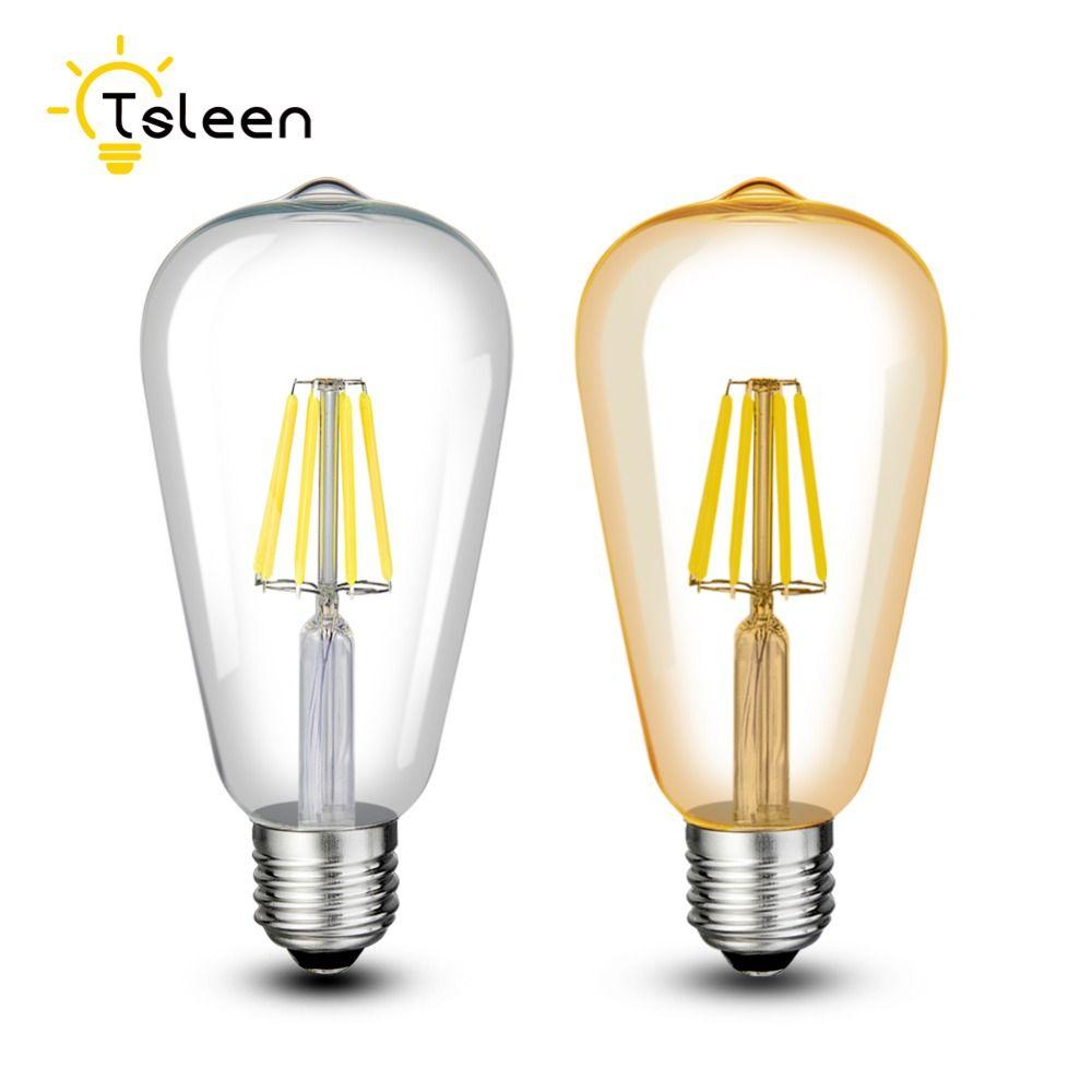 Pas cher 110 v 220 v ST64 Vintage Led Lampe E27 Rétro LED Filament Ampoule 8 w 12 w 16 w Verre Edison Lamparas COB Or Décoration