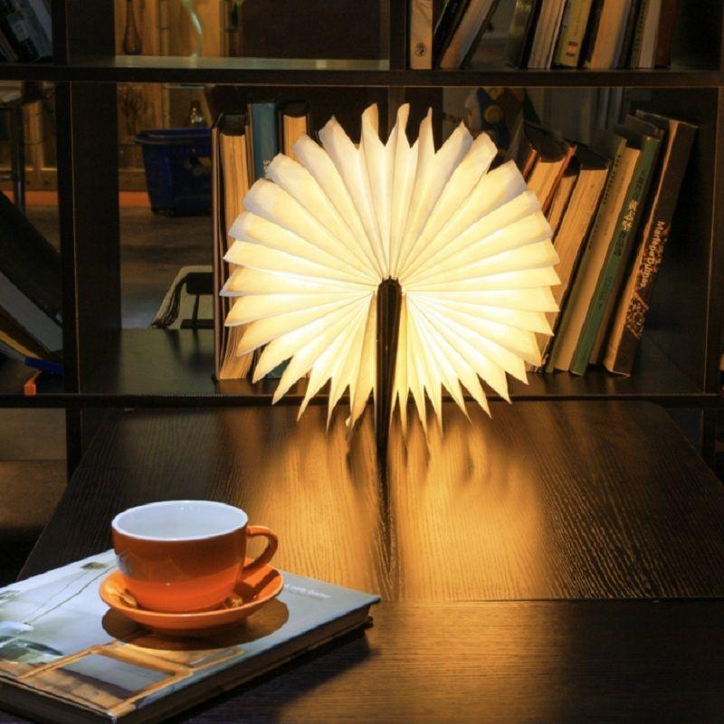 Luz de la noche del USB LED Recargable Booklight Plegable Libro Luz Lámpara de Escritorio De Madera para La Decoración Casera Luz Blanca Cálida