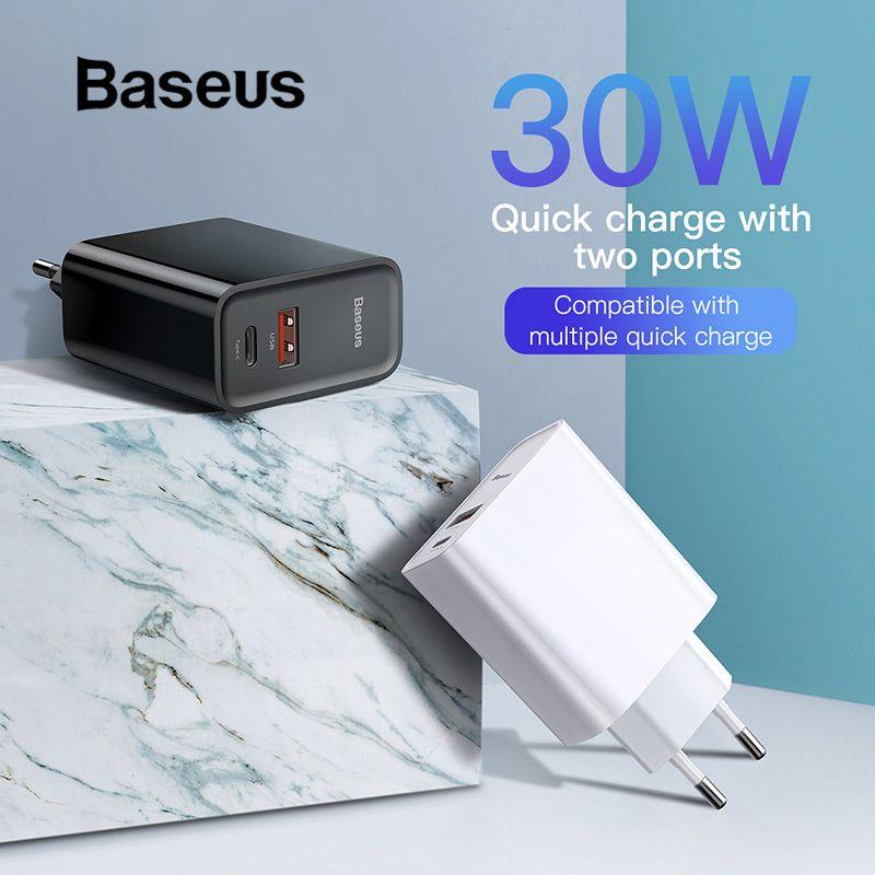 Chargeur rapide 4.0 3.0 USB Baseus chargeur 5A pour Huawei 30 W QC 4.0 3.0 chargeur rapide PD 3.0 chargeur rapide pour iPhone