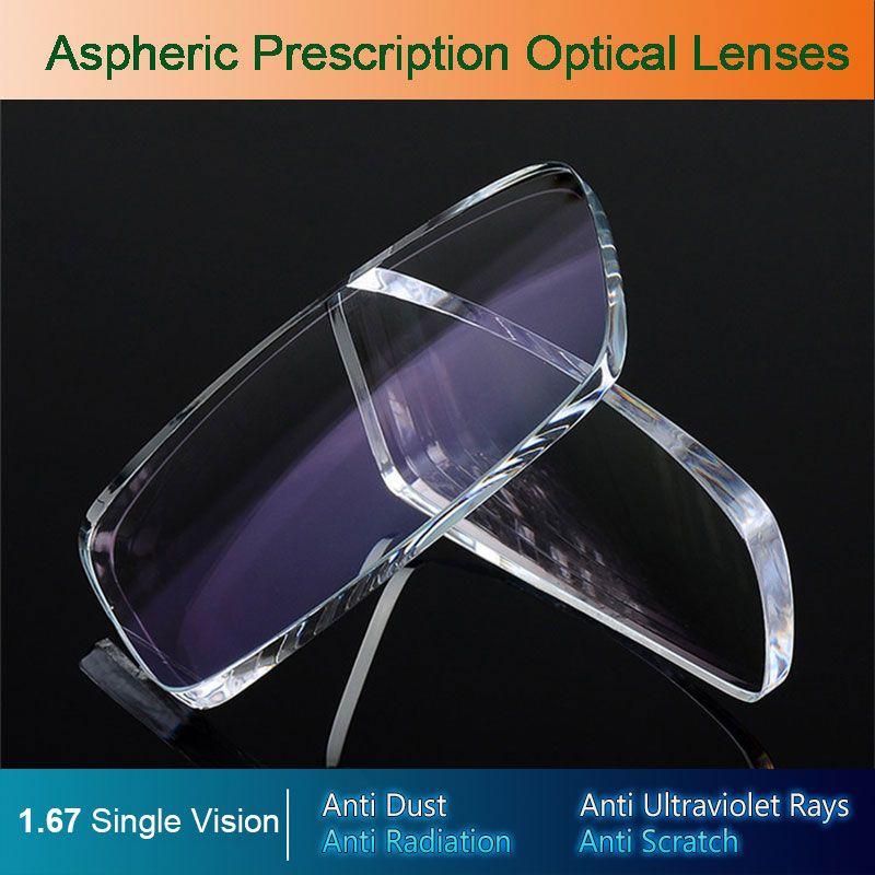 1.67 Single Vision Aspheric Optical Eyeglasses Prescription Lenses UV400 Anti-radiation AR Coating Spectacles Glasses Lenses