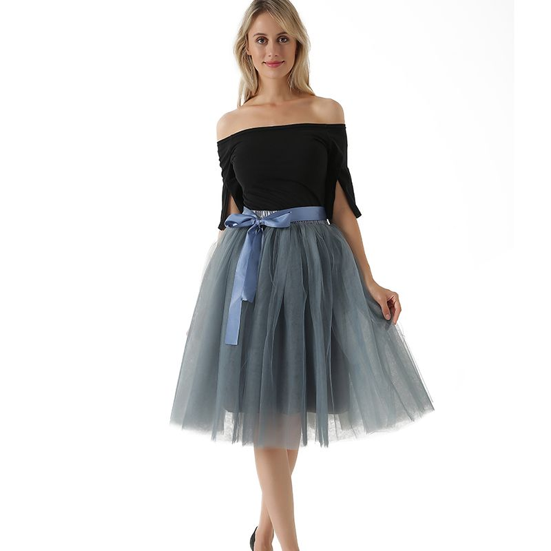 New Arrival Elegant Ladies Elastic Waist Pleated Tutu Tulle Skirt Adult skirts Women Lolita Petticoat Bridesmaids Jupe Saia fald