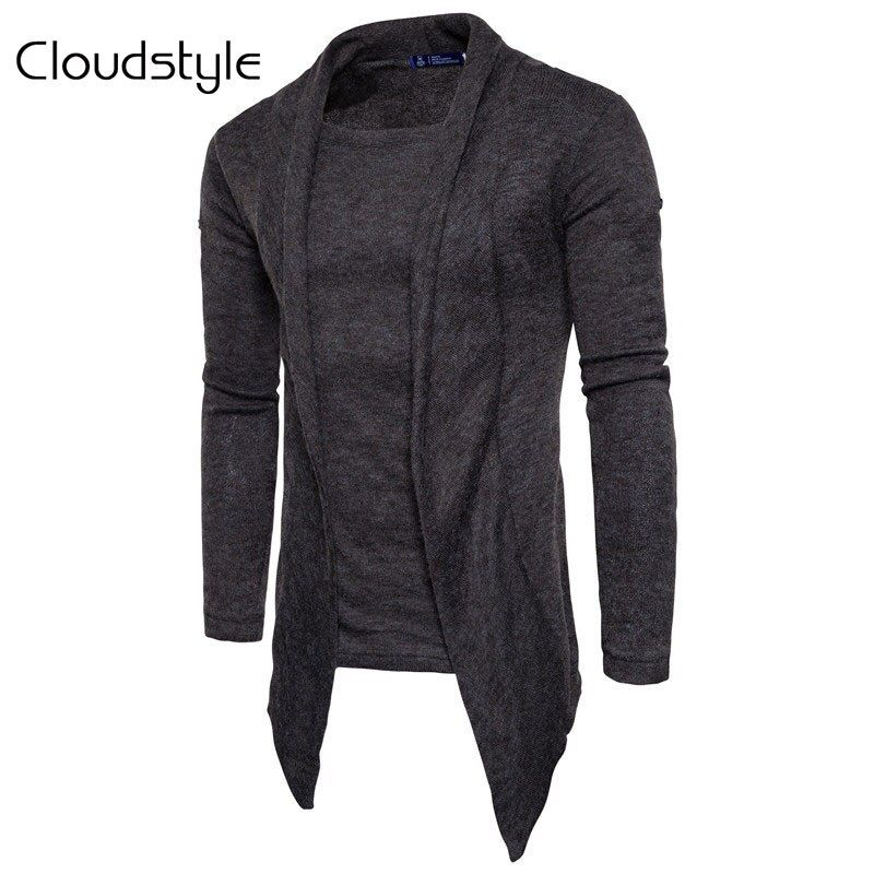 Cloudstyle Cardigan Men Fashion Spring Autumn Mens Sweaters 2018 Middle-Long Length Cardigan Slim Fit Casual Male Sweatercoat