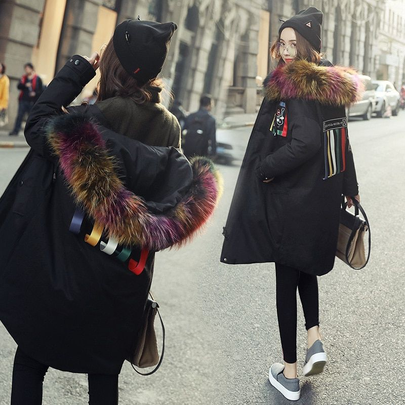 Korean 2018 women's jackets parka with colored real fur hood collar female long puffer coat canada fashion goode down black xxl