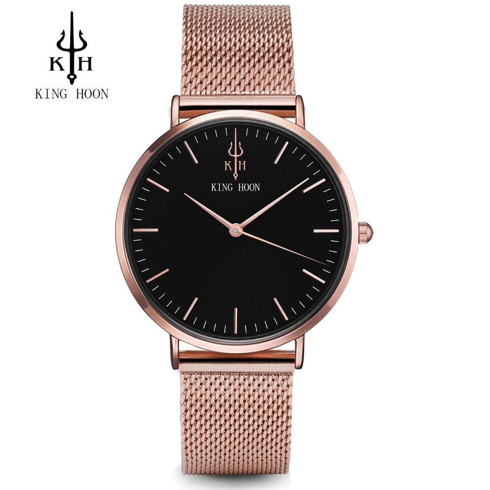 REY HOON Malla De Acero Mujeres Del Reloj de Señoras de Lujo Ultra Delgada de Acero Inoxidable Banda de Cuarzo Reloj de pulsera de Moda Femenina Reloj Relogio