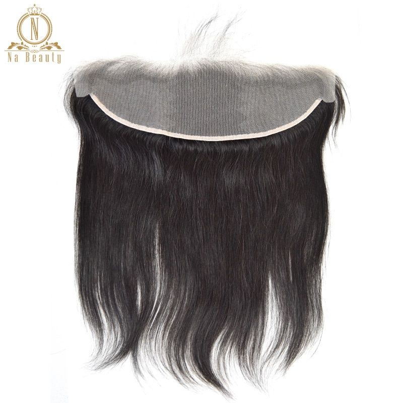 Straight Transparent Lace Frontal 13X4 Ear To Ear Free Part Remy Brazilian Human Hair Clear Lace Closure Natural Color 10-20 In