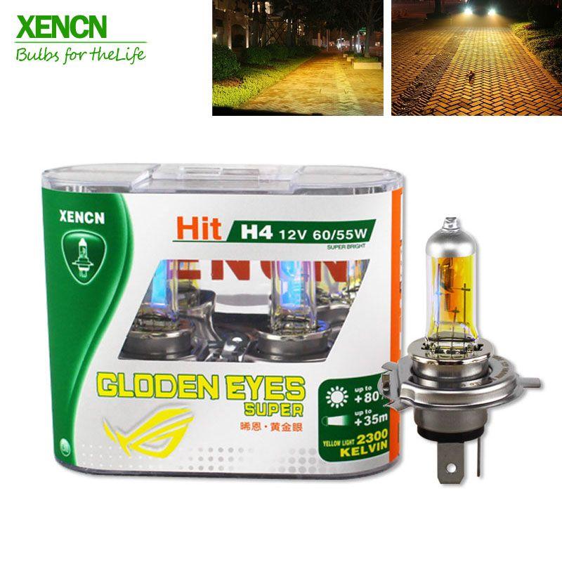 XENCN H4 12 v 60/55 watt P43t 2300 karat Goldene Augen Super Gelb Mehr Helle Licht Halogen Auto lampen Scheinwerfer Freies Verschiffen 2 stücke