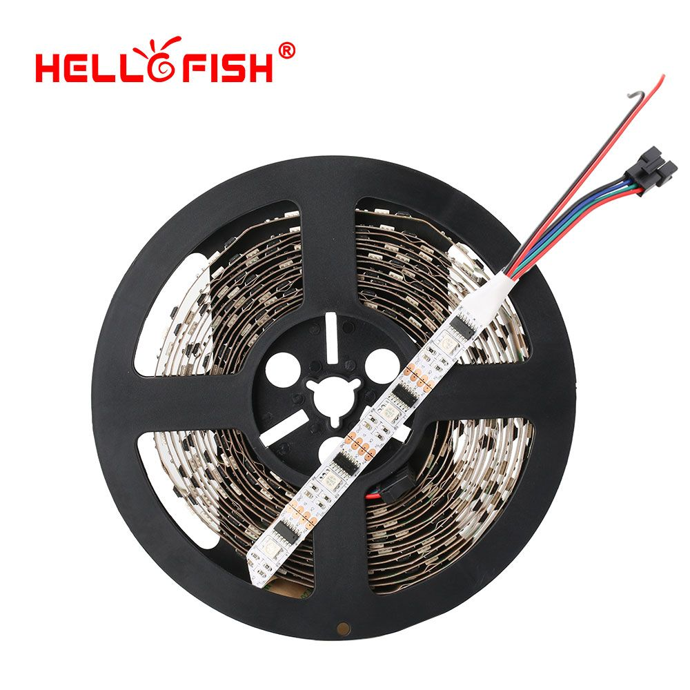 5M WS2801 LED strip Raspberry Pi control LED strip <font><b>Arduino</b></font> development ambilight TV White or Black PCB HELLO FISH