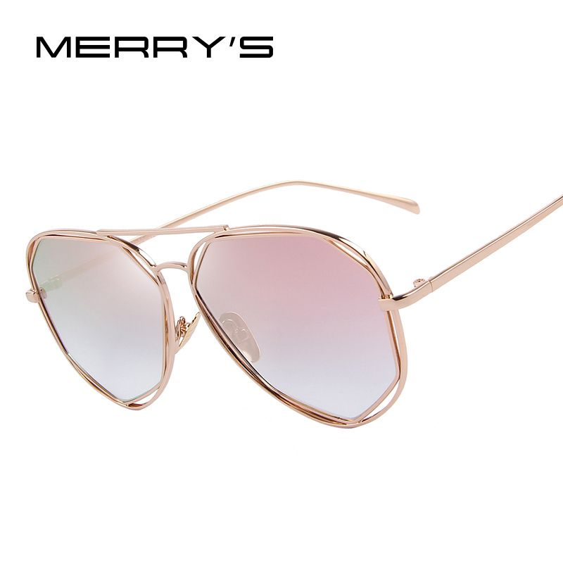 MERRY'S Fashion Women Sunglasses Classic Brand Designer Twin-Beams Coating Mirror Flat Panel Lens Summer Shades S'8492