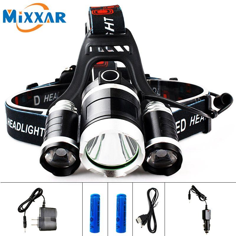 EZK20 LED 13000LM Cree XM-L T6 R5 Headlight Head Lamp Fishing Light LED Headlamp +<font><b>2pcs</b></font> 18650 5000mah Battery Charger+Car Charger
