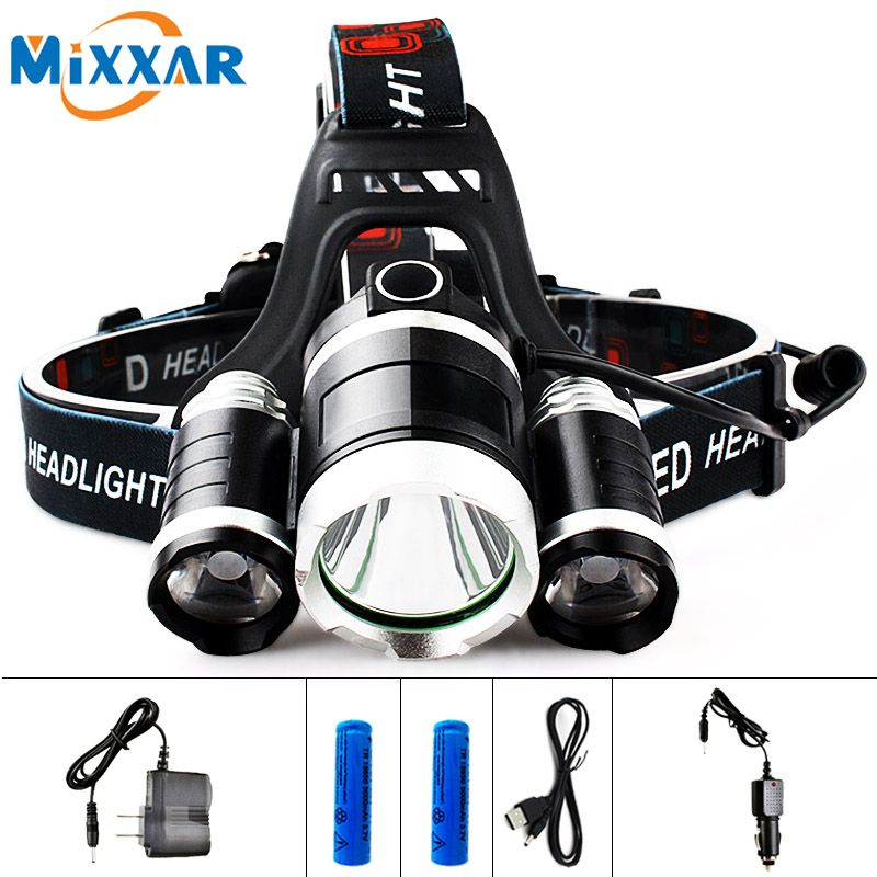 EZK20 LED 13000LM Cree XM-L T6 R5 Headlight <font><b>Head</b></font> Lamp Fishing Light LED Headlamp +2pcs 18650 5000mah Battery Charger+Car Charger