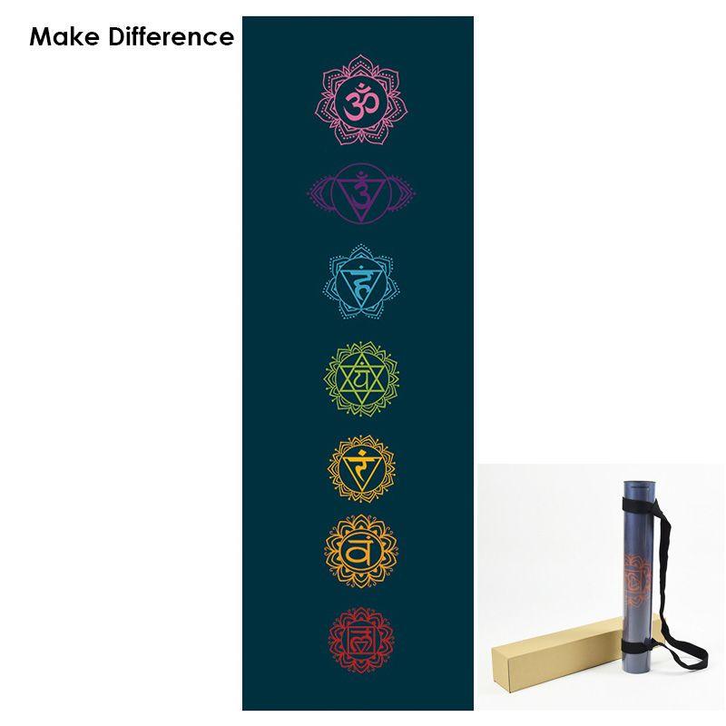Machen Unterschied Chakras Gedruckt Naturkautschuk Yoga-Matte Trinkwasser Teppich Matte für Fitness Outdoor Yoga Pilates Matte 183 cm * 61 cm * 3,5mm