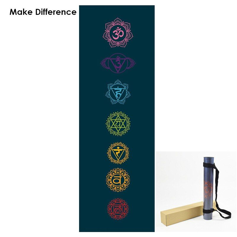 Make Difference Chakras Printed Natural Rubber Yoga Mat Potable Carpet Mat for Fitness Outdoor Yoga Pilates Mat 183cm*61cm*3.5mm
