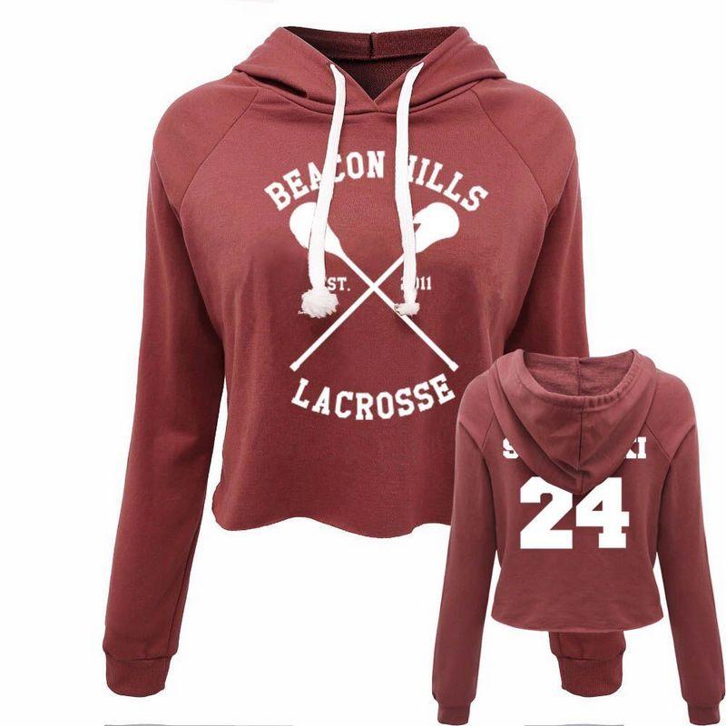 Beacon 24 Casual Women Crop Top Hoodie Teen Wolf Stiles Stilinski Sweatshirt Hoody Long Sleeve Girl Pullover Hooded Femme Shirts