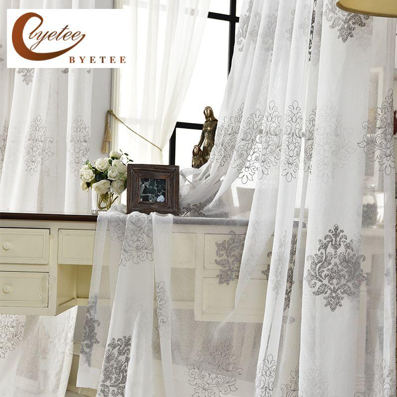 [Byetee] haute qualité lin brodé rideau chambre fenêtre Tulle gaze gris Voile rideaux pour salon rideau fini