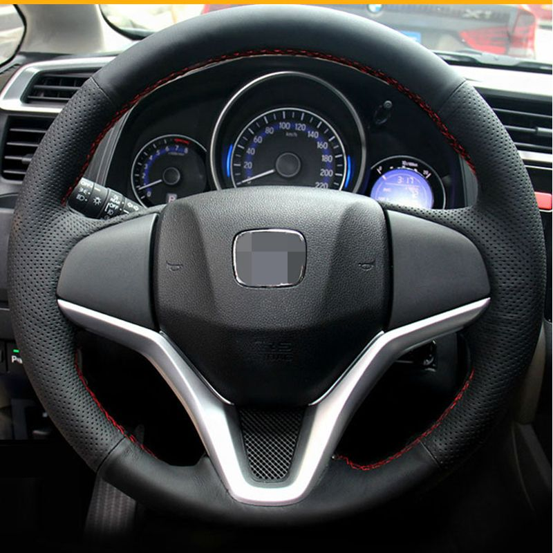 StBlack Artificial Leather Car steering Wheel Cover for Honda New Fit City Jazz 2014 2015 HRV HR-V 2016