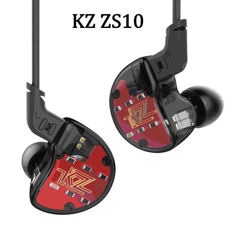 KZ ZS10 4BA+1DD Hybrid In Ear Earphone HIFI Running Sport Earphones Earplug Headset Earbud Kz ZS6 AS10 ZST With Bluetooth Option