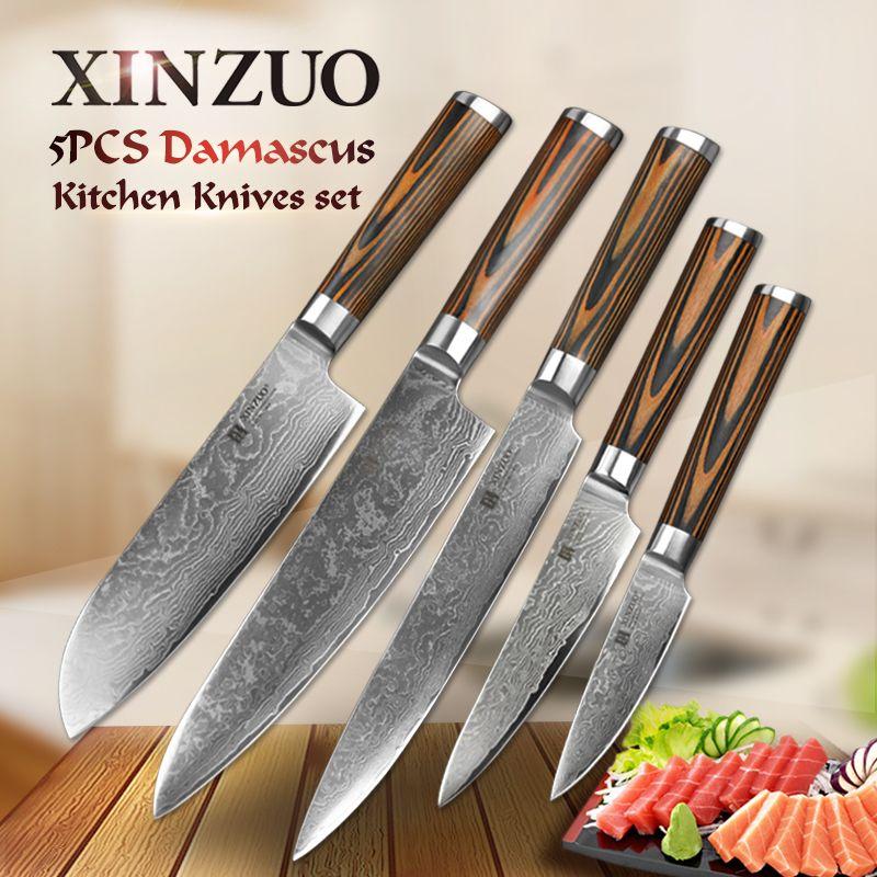 5 pcs kitchen knife set 73 layer Japanese VG10 Damascus steel kitchen knife cleaver chef utility knife wood handle free shipping