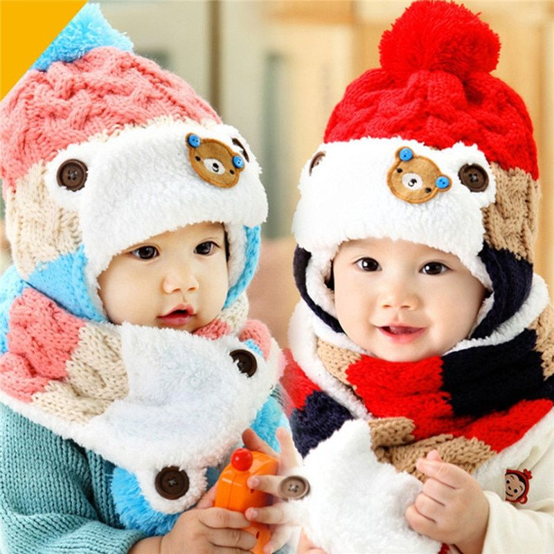 Baby Hat and Scarf Cute Bear Crochet Knitted Baby Caps for Neck Warmer Winter Baby Cap Hats For Girls Winter Children's Hats