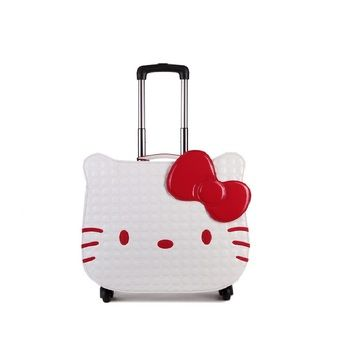 18 inch hello kitty luggage suitcase kids women travel cartoon leather luggage rolling spinner wheels gift DHL/EMS free shipping