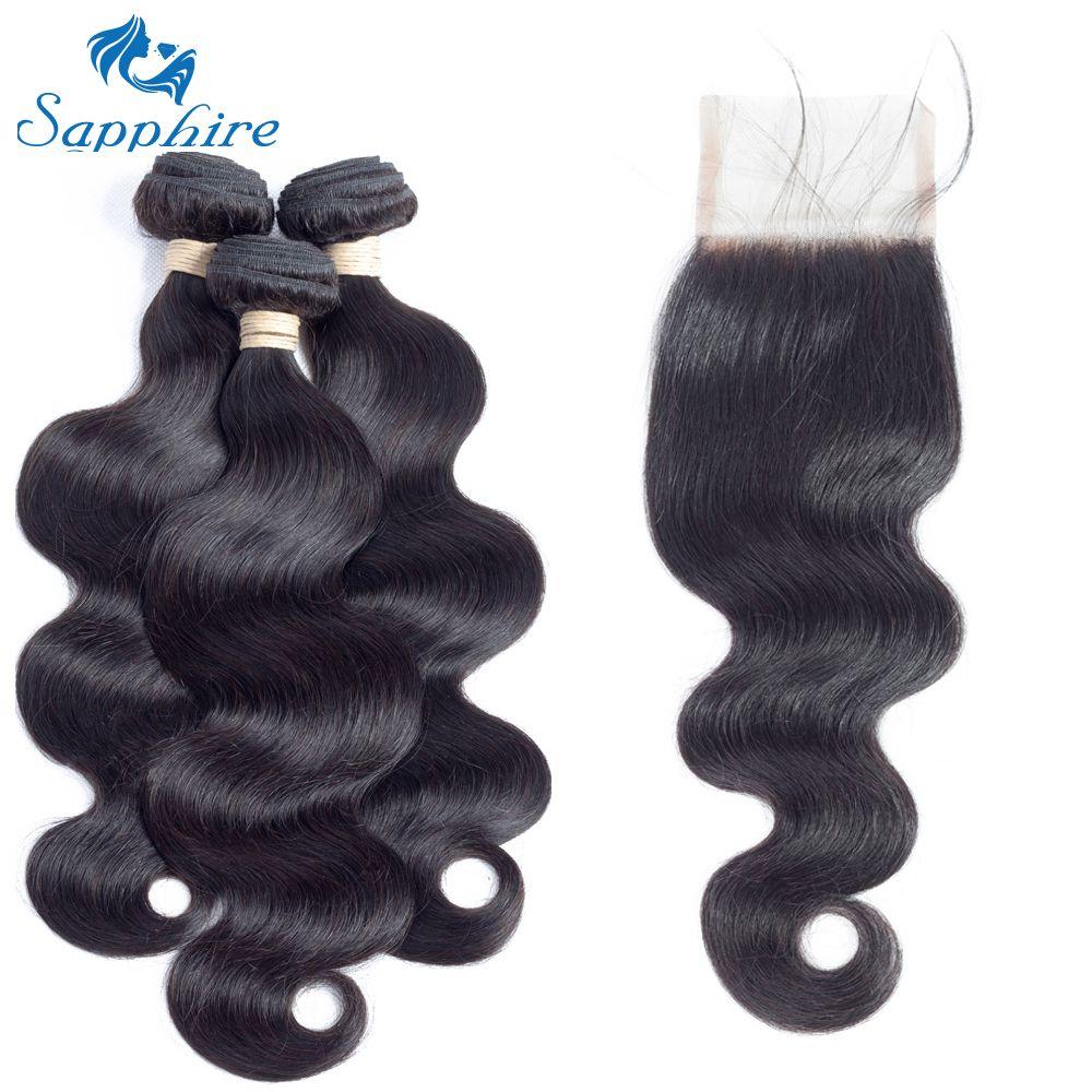 Sapphire Body Wave Brazilian Virgin Hair With Closure Brazilian Body Wave With Closure 3Bundles With Lace Closure For Hair Salon