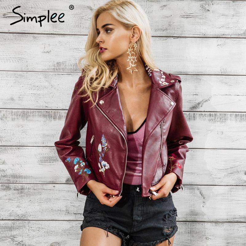 Simplee Embroidery black leather jacket women Zipper motorcycle faux leather coat Winter fashion biker jacket outerwear & coats