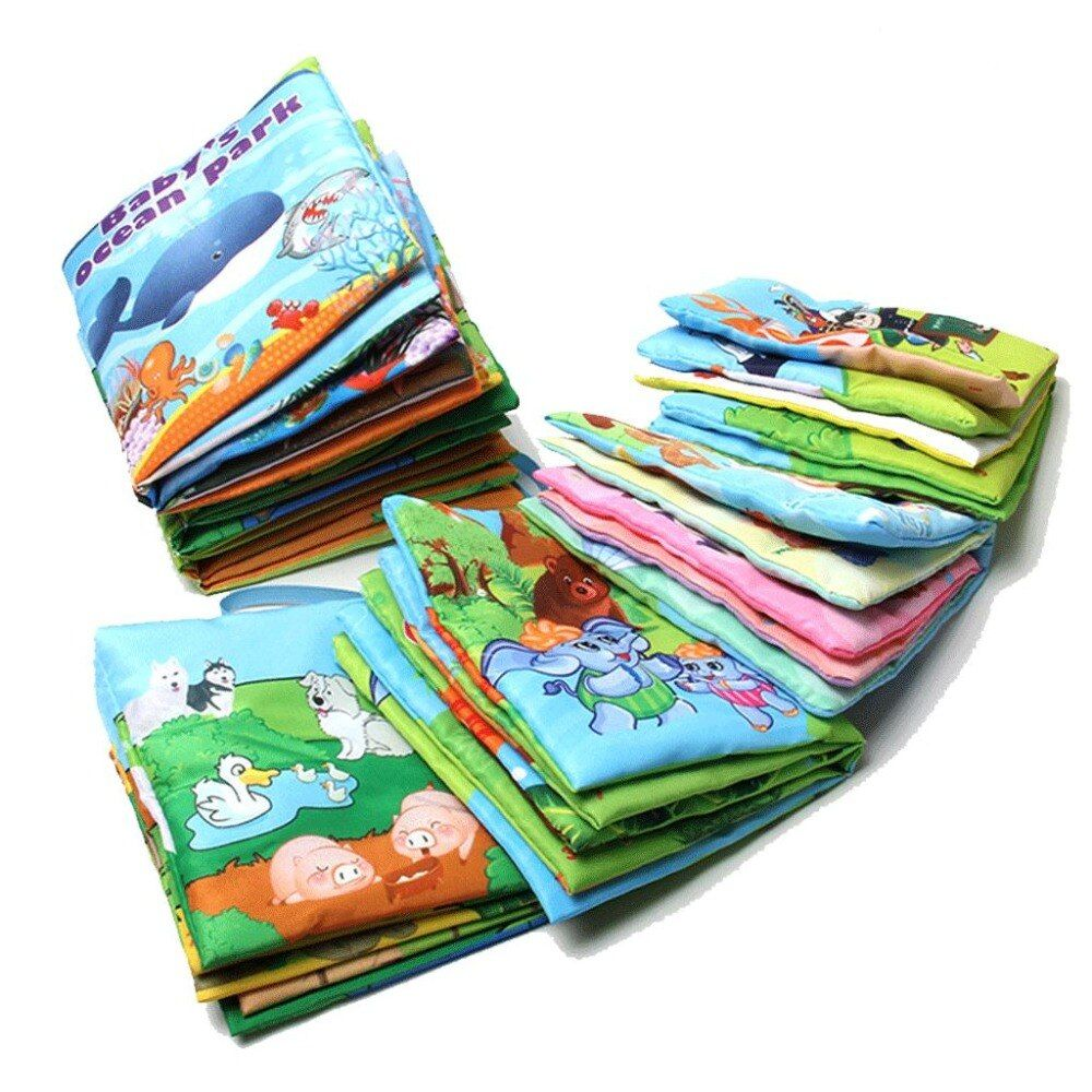 One Piece Retail Baby Toys Infant Kids Early Development Cloth Books Colorful Educational Unfolding Activity Book Xmas Gift
