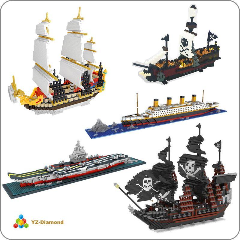 YZ Titanic caraïbes Pirate voile noir perle bateau bateau modèle 3D bricolage Mini bâtiment diamant petits blocs briques jouet pas de boîte