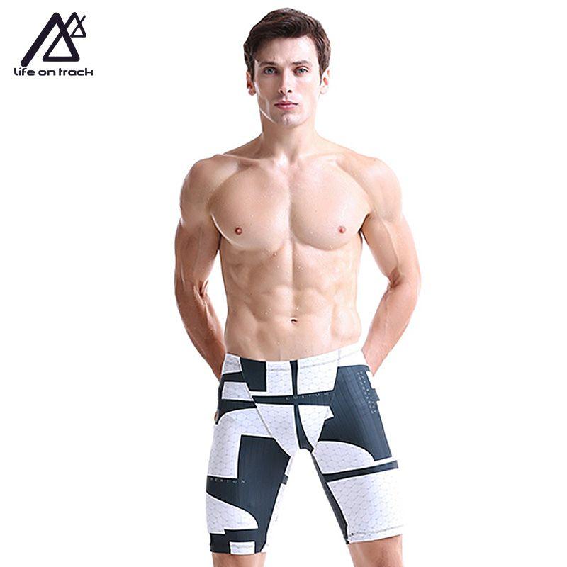 Summer Men Swimwear Jammers Beach Surf Close-fitting Professional Men's Swimming Trunks Sports Elastic Low Waist Swimsuit